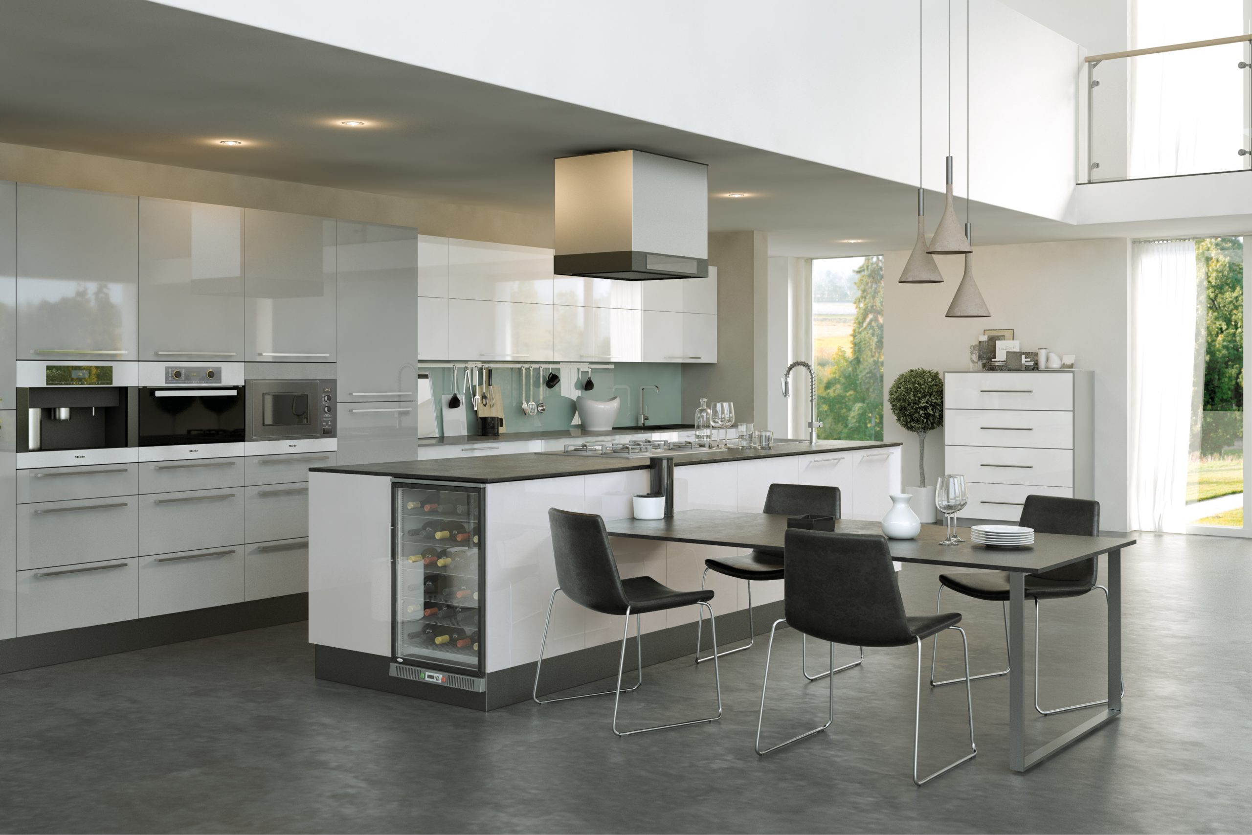 Firbeck Supergloss White and Supergloss Light Grey Kitchen