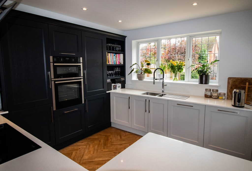 Kew painted shaker kitchen in Soft Grey and Charcoal. Noble Kitchens