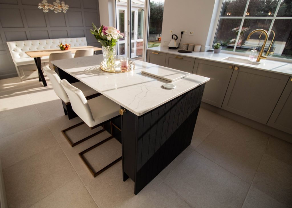 Fenton shaker kitchen in soft grey and charcoal, Noble Kitchens